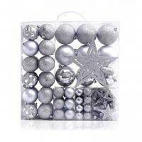 DecoKing Sada vianočných ozdôb Star strieborná, 100 ks