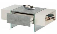 Konferenčný stolík Ferrara, šedý beton/biely lesk