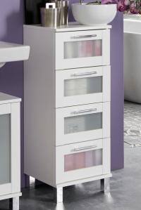 Kúpeľňová skrinka so zásuvkami Orlando, biela/satinované sklo