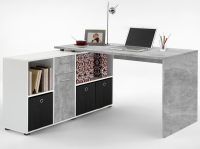 Písací stôl s regálom Lex, šedý betón/biela