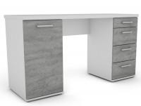 Písací stôl Walter, biely/šedý betón