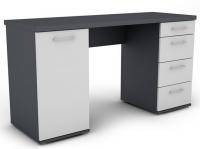 Písací stôl Walter, grafitovo sivý / biely