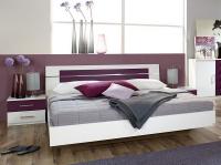 Posteľ s nočnými stolíkmi Burano 160x200 cm, biela/fialová