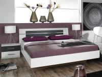 Posteľ s nočnými stolíkmi Burano 160x200 cm, biela/sivá