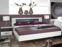 Posteľ s nočnými stolíkmi Burano 180x200 cm, biela / sivá