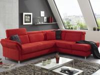 Rohová sedacia súprava Avignon, červená látka, s funkciou rozkladu