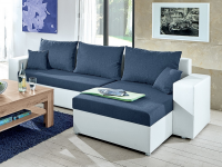 Rohová sedacia súprava Samba II, biela ekokoža/tmavo modrá látka