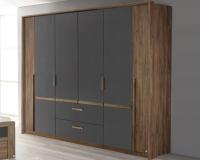 Šatníková skriňa Bernau, 226 cm, dub stirling/šedá, otočné dvere