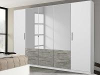 Šatníková skriňa Siegen, 226 cm, biely/sivý betón