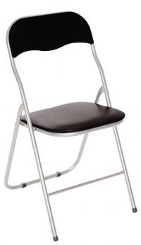Skladacia stolička Foldus, čierna ekokoža
