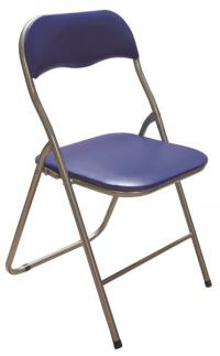 Skladacia stolička Foldus, modrá ekokoža
