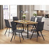 Jedálenský stôl BERGEN dub + 6 stoličiek BERGEN sivé mikrovlákno