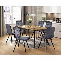 Jedálenský stôl BERGEN dub + 6 stoličiek BERGEN sivý zamat