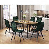 Jedálenský stôl BERGEN dub + 6 stoličiek BERGEN zelený zamat