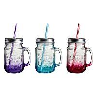 Sada 3 farebných pohárov so slamkou Premier Housewares