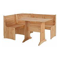 Set rohovej lavice a jedálenského stola z masívneho borovicového dreva Støraa Samantha