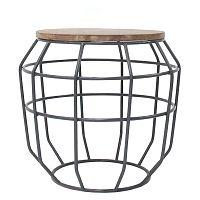 Tmavosivý príručný stolík s doskou z mangového dreva LABEL51 Pixel, Ø cm
