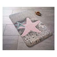 Vzorovaná červená predložka do kúpeľne Confetti Bathmats Starfish, 80×140cm