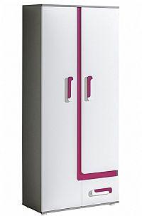 NajlacnejsiNabytok APETITO dvojdverová policová skriňa A3, ružová