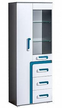 NajlacnejsiNabytok APETITO vysoká skrinka so sklom A15, modrá