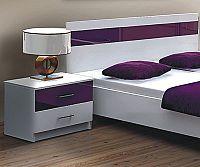 NajlacnejsiNabytok Dubaj nočný stolík, biela/fialová