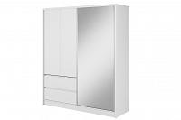 NajlacnejsiNabytok SARA 180 šatníková skriňa so zrkadlom, biela/biela