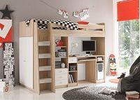 NajlacnejsiNabytok UNIT detská posteľ so stolíkom, dub sonoma + biela