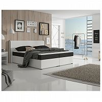 Komfortná posteľ, čierna látka/biela ekokoža, 160x200, NOVARA KOMFORT