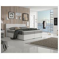 Komfortná posteľ, sivá látka/biela ekokoža, 180x200, NOVARA KOMFORT