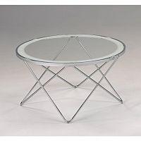 Konferenčný stolík, chróm/číre sklo, LEONEL