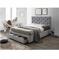 Moderná posteľ s úložným priestorom, sivá látka, 160x200, SANTOLA