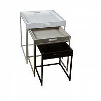 Set 3 príručných stolíkov, biela/sivá/čierna, BARTON