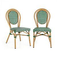 Blumfeldt Montpellier GR, bistro stolička, možnosť ukladať stoličky na seba, hliníkový rám, polyratan, zelená