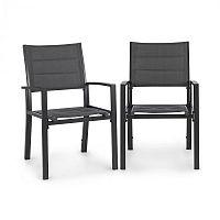 Blumfeldt Torremolinos, záhradné stoličky, 2 ks, hliník, ComfortMesh, tmavosivé