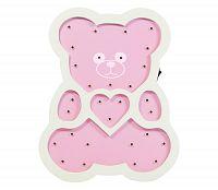 Polux LED Detská lampa LED/2xAA ružový medveď