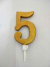 """TORO Tortová sviečka číslica """"5"""" TORO zapichovacia 16cm, zlatá"""