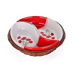 BANQUET Red Poppy servírovacie misky v košíku 2 diely