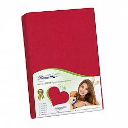 Bellatex Jersey prestieradlo Kamilka červená, 100 x 200 cm