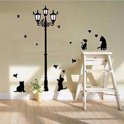 Samolepiaca dekorácia Čierne mačky pod lampou