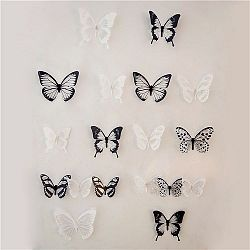 Samolepiace 3D motýle čierno-biela, 18 ks