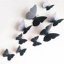 Samolepiace 3D motýle s magnetom čierna, 12 ks,