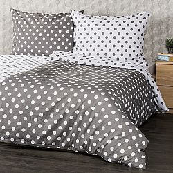 4Home Bavlnené obliečky Sivá bodka, 220 x 200 cm, 2 ks 70 x 90 cm, 220 x 200 cm, 2 ks 70 x 90 cm