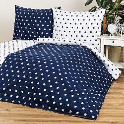 4Home bavlnené obliečky Stars Navy blue, 140 x 200 cm, 70 x 90 cm