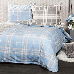 4Home Flanelové obliečky Modrá kocka, 160 x 200 cm, 70 x 80 cm