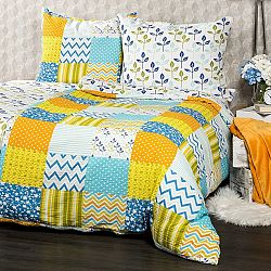 4Home Krepové obliečky Patchwork blue, 220 x 200 cm, 2 ks 70 x 90 cm