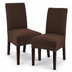 4home Multielastický poťah na sedák na stoličku Comfort hnedá, 40 - 50 cm, sada 2 ks