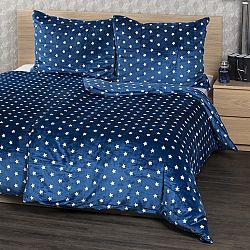 4Home obliečky mikroflanel Stars modrá, 160 x 200 cm, 2 ks 70 x 80 cm, 160 x 200 cm, 2 ks 70 x 80 cm