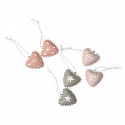 Altom Sada kovových vianočných ozdôb Hearts, 6 ks