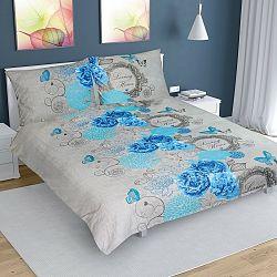 Bellatex Bavlnené obliečky Ruže modrá, 220 x 200 cm, 2 ks 70 x 90 cm