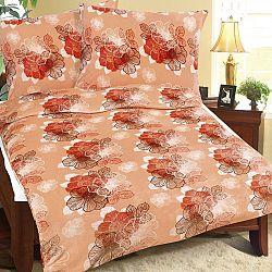 Bellatex Obliečky mikroflanel Oranžový kvet, 140 x 200 cm, 70 x 90 cm